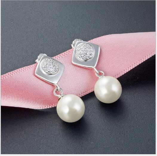 Diamonds S925 Gümüş Koreli Küçük Taze Lady Vahşi Boncuk Earrings498 ile Toptan Kısa İnci Küpe