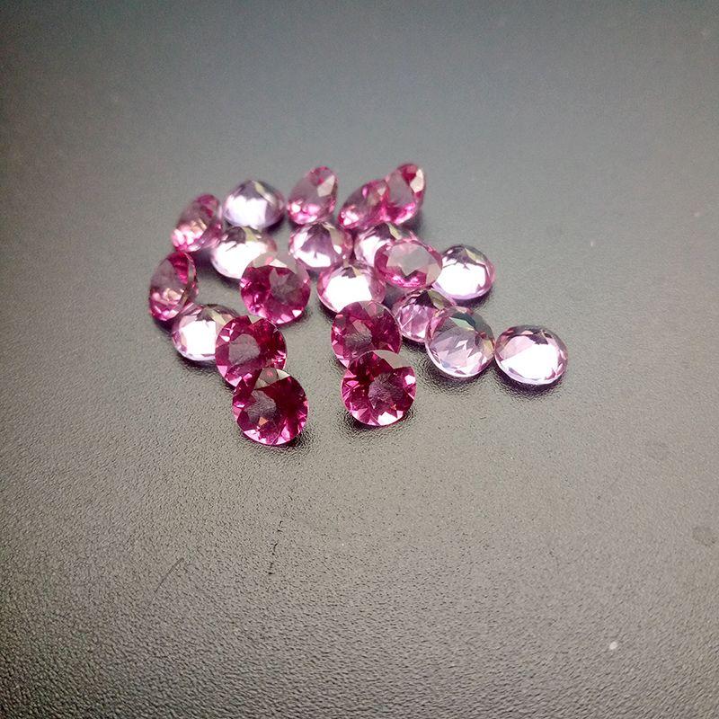 Good Cut High-end 100% Guarantee Semi-precious Stone 4-5mm Brilliant Round Pink Topaz Loose Gemstone For Jewelry Making 10pcs/Lot