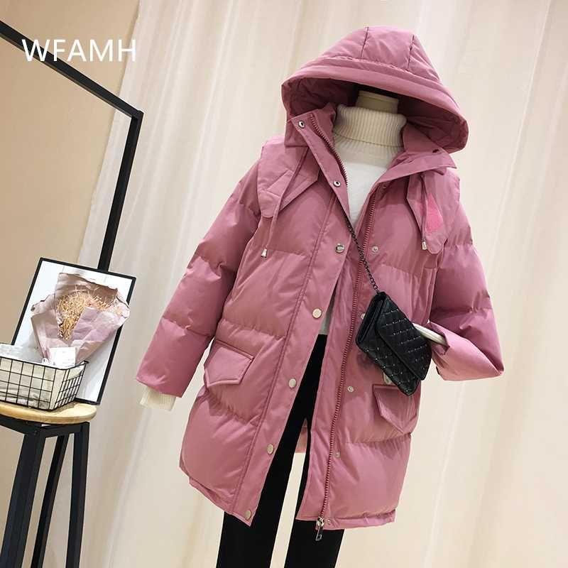 De comprimento médio encapuzados mulheres de mangas compridas jaqueta de algodão 2020 inverno nova-coreano de moda grossa quente quente jaqueta de algodão bolso fina