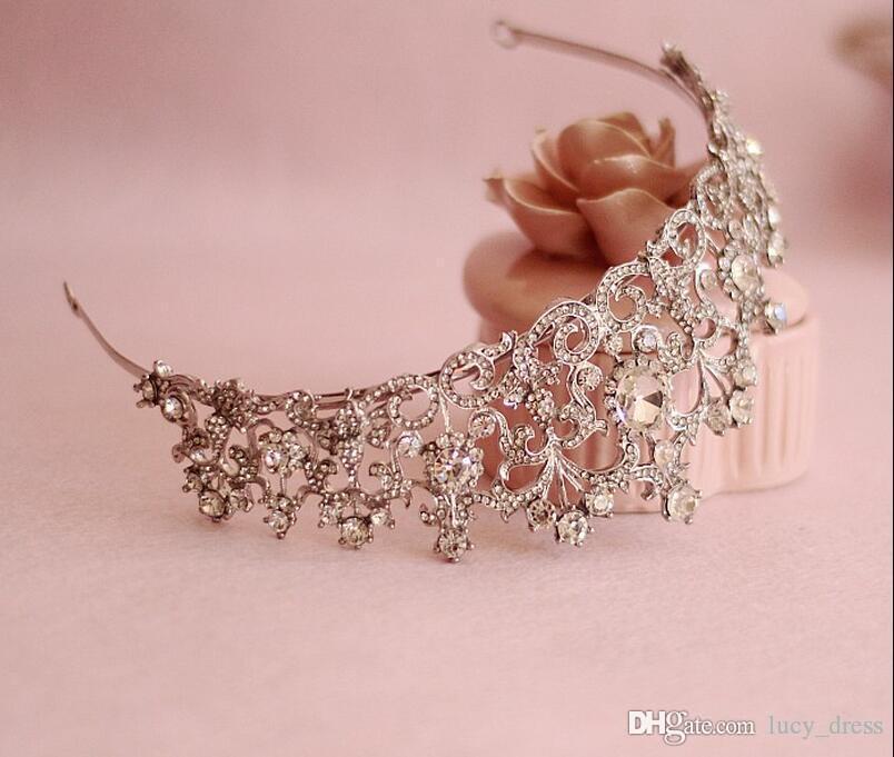 Haute Qualité Européenne Diadème De Mariée Baroque De Luxe Strass Cristal Couronne Reine Diamant Cheveux Princesse Coréenne Blanc Brillant Cheveux Accessoires