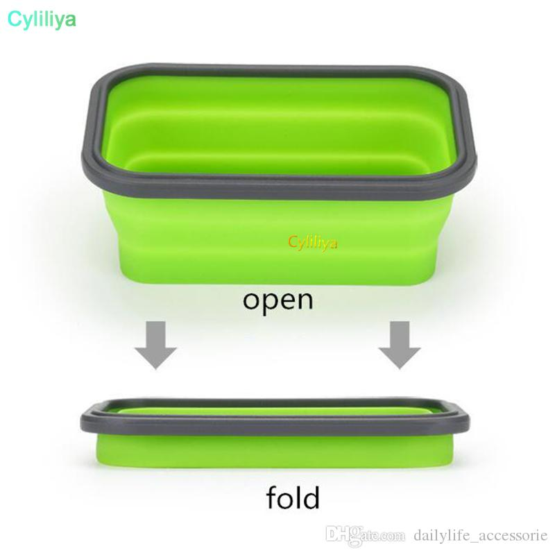 6 Colors Floding Lunch Boxes Food Grade Silicone Food Storage Containers Student Portable Bento Box 350ml/500ml/800ml/1200ml 20pcs