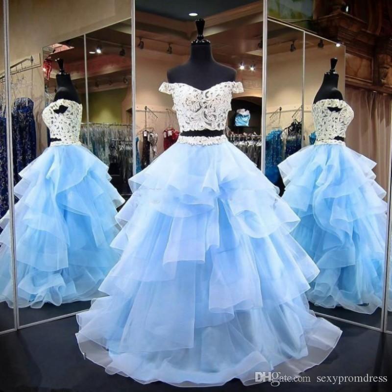 Sky Blue Two Pieces Пром платья с плеча кружева верхней и органзы многоуровневого Длинная юбка вечернее платье длиной до пола Формальное платье партии Дешевые