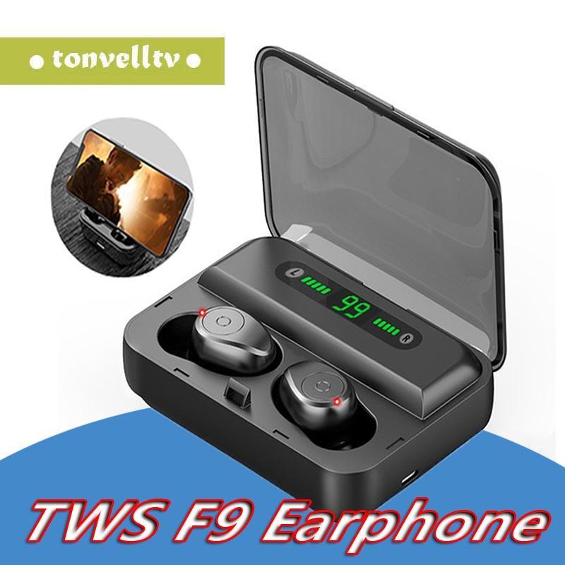 F9-5 TWS Bluetooth-Kopfhörer V5.0 drahtloser Kopfhörer HIFI Earbuds Stereo Bass Headset mit Mikrofon Wiederaufladbare für Smartphones
