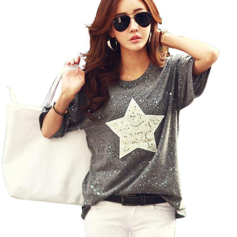 New Fashion T Shirt Women Tops Short Sleeve O-Neck Cotton Tees Star Polka Dot Printed Summer Rhinestone Camisetas Mujer Slim