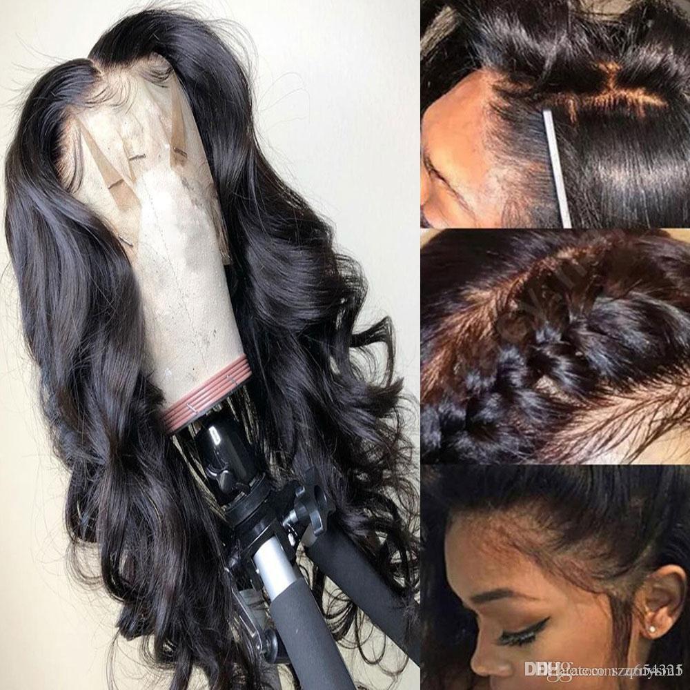 Preplucked parte profunda 13*6 pelucas de cabello humano frontal de encaje onda del cuerpo Remy brasileño para mujeres negras peluca de cierre Frontal de encaje sin pegamento