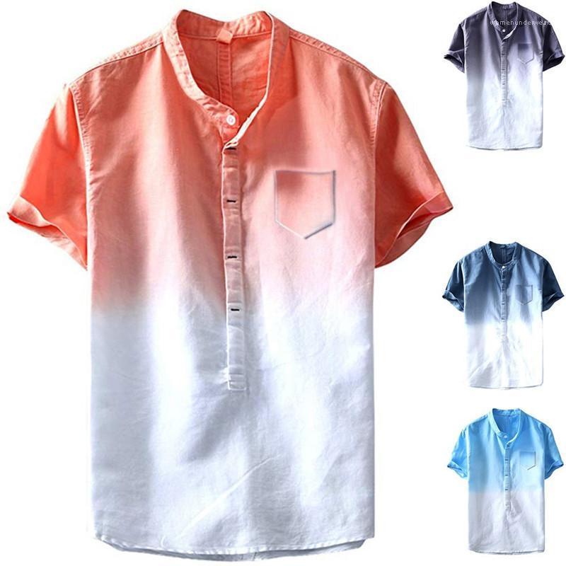 Крашеные футболки лето мода карманы дизайнер свободного покроя пляж мужики тройники мужская галстук линия