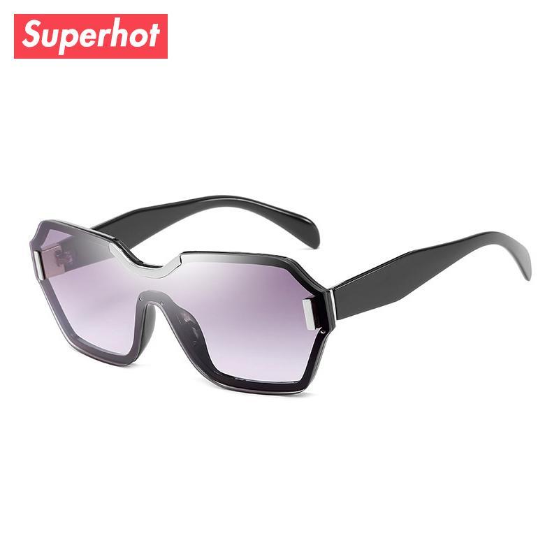 venta al por mayor Gafas - Lentes de gafas de sol de una pieza Diseñador de la marca de moda Gafas de sol Vintage Hombres Mujeres Gradiente negro Shades 201501
