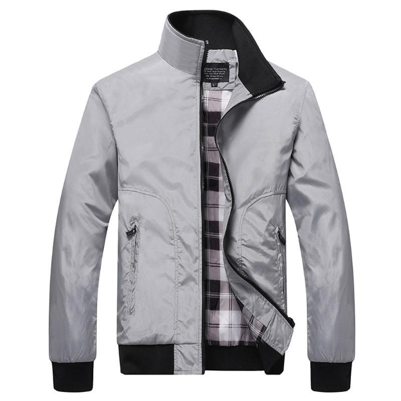 Mens Jackets Autunno Cappotti casual solido di colore Patchwork stand Collar Slim Zipper Giacche Maschio Bomber Outwear Coat # g3