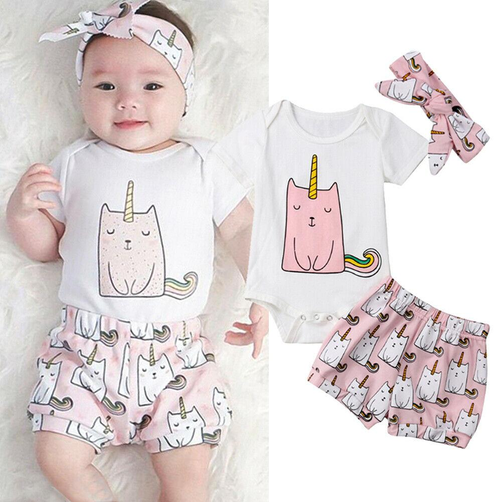 0-3Y Summer Cute Infant Kids Baby Girls Boys Clothes Sets Cartoon Print Short Sleeve Romper Tops+Shorts+Headband