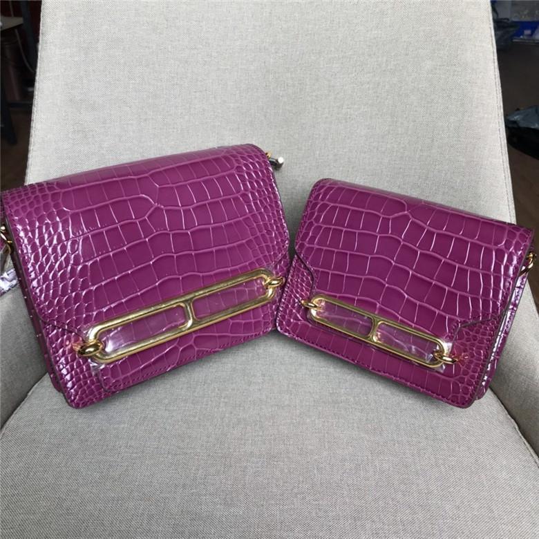Novo estilo mulheres sacos de ombro famosos sacos do mensageiro Designer senhora genuína de impressão de couro de jacaré crossbody bolsa bolsa populares roxo