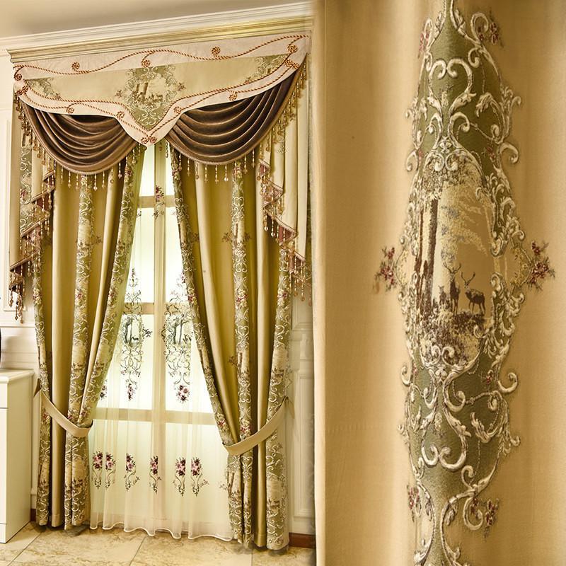 Europäischer Top-König 4D Jacquard Verdunkelungsvorhang für Schlafzimmer Küchenfenster hochwertige Tüll Vorhänge für Wohnzimmer