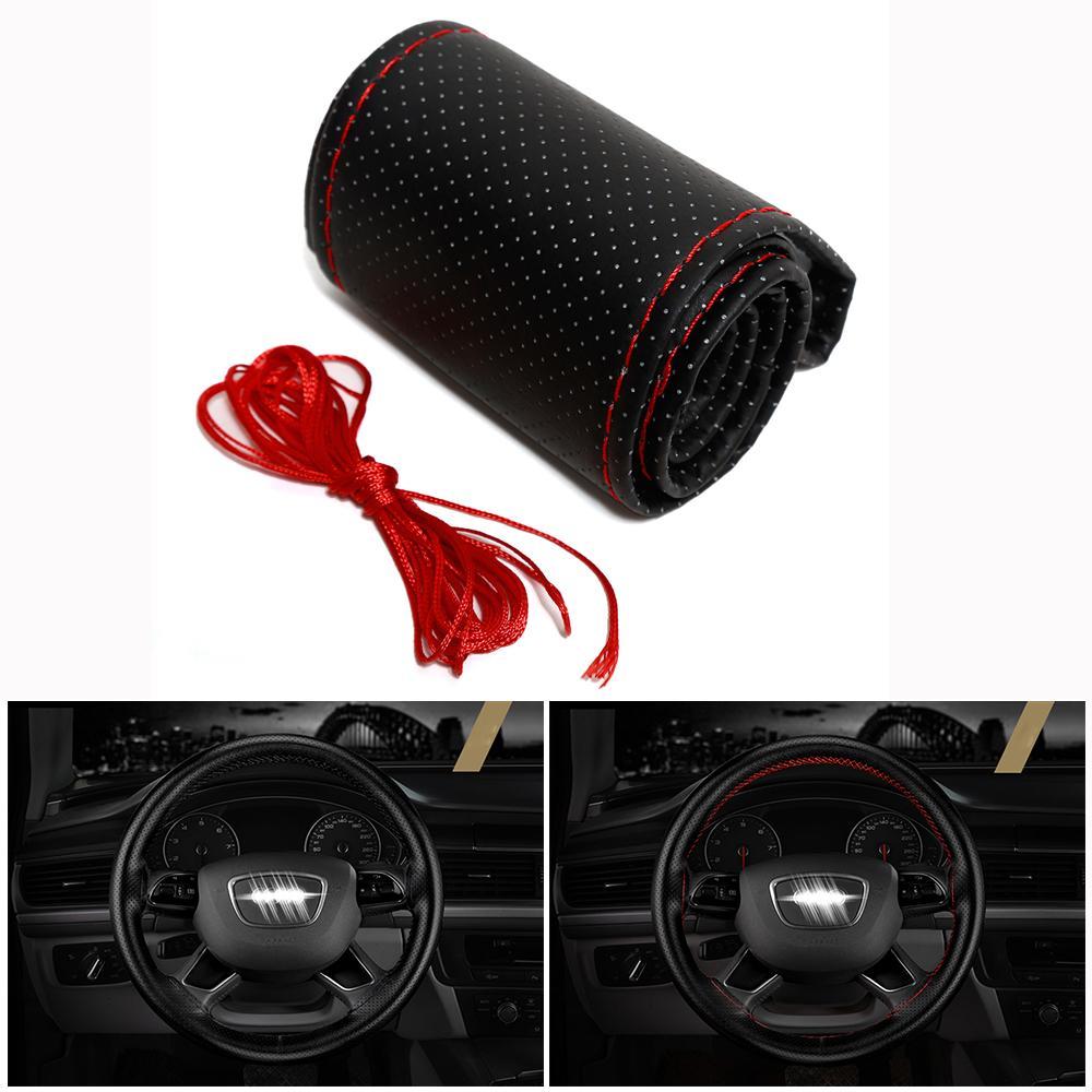 Cubiertas de volante de bricolaje Trenza de cuero de PU suave en el volante del automóvil Con accesorios interiores de aguja e hilo