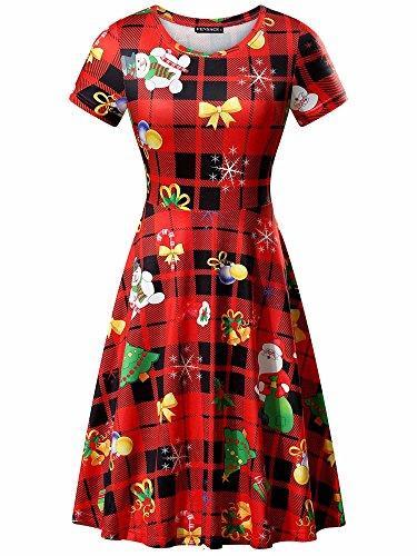Vestidos casuais fensace vestido de natal womens santa claus impresso presentes Xmas