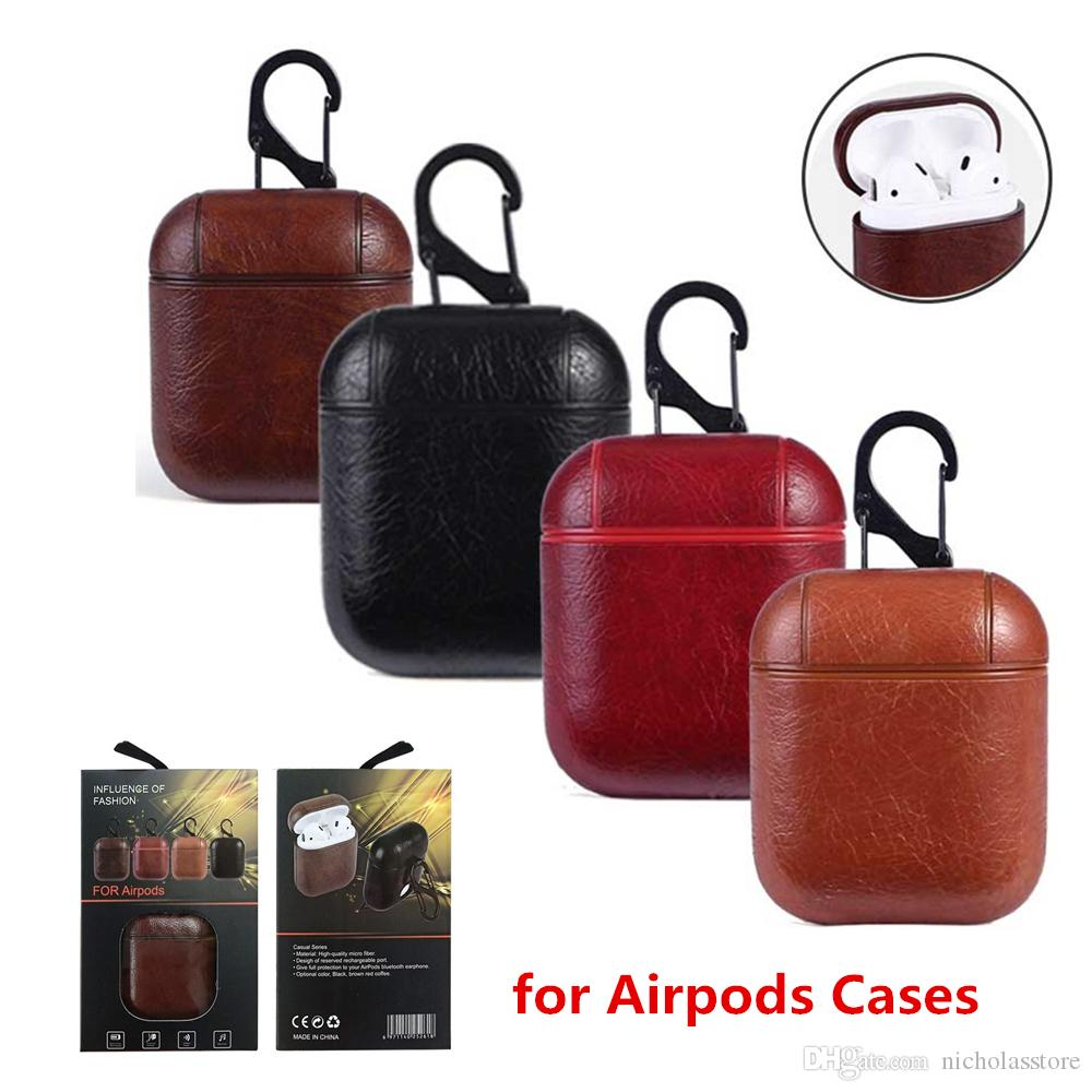PU Leather Wireless Bluetooth Storage Box Cases For Apple AirPods Protector Headphone Case Cover With Hook Shockproof Retro Earbuds Boxs