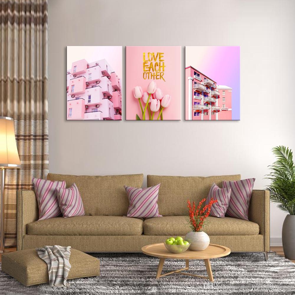 Acheter Toile Mur Art 3 Panneau Rose Tulipe Et Villa Peinture Couleur Chaude Style Photo Murale Décor De Mur Pour Chambre Chambre Fille Fille De
