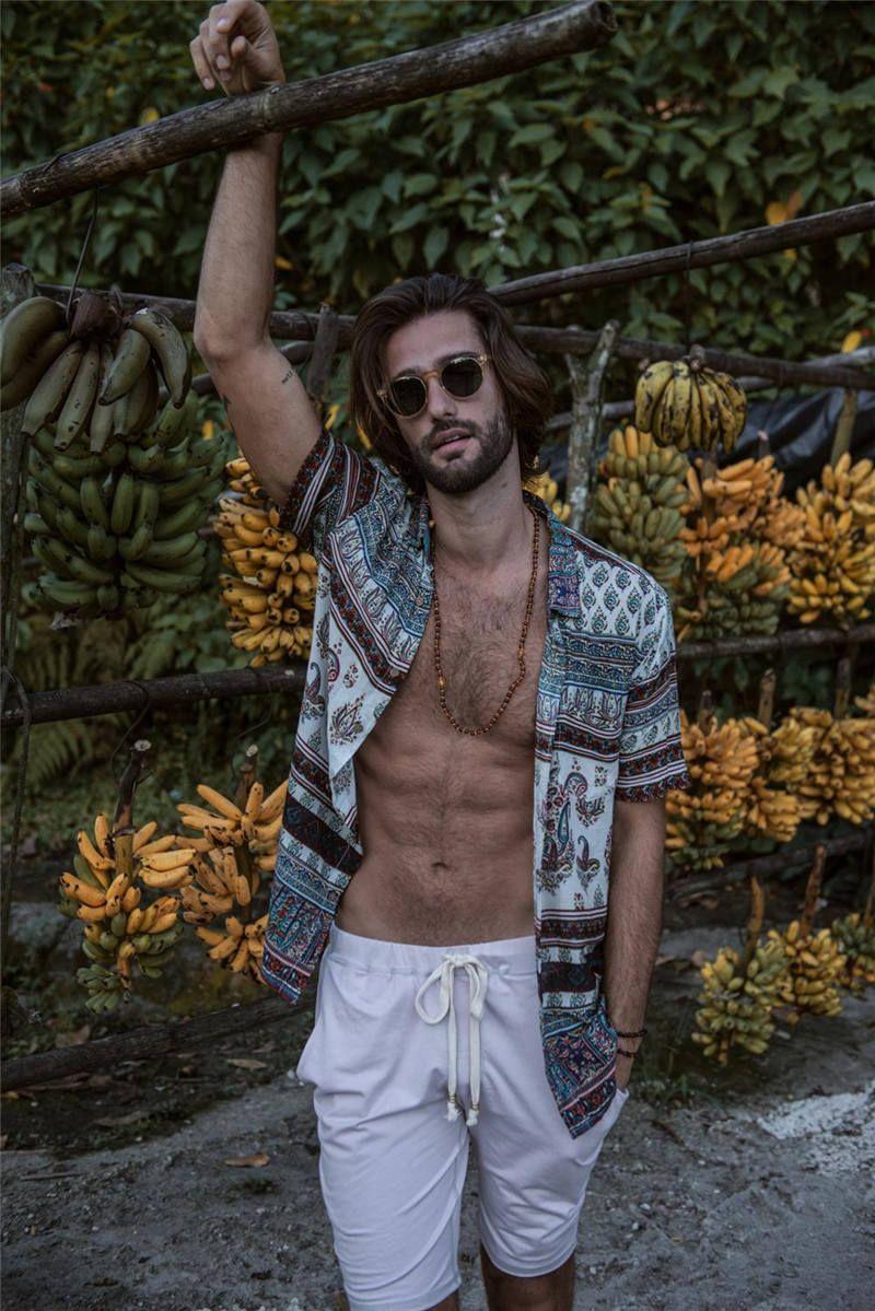 Hawaii Mens Designer Summer рубашка с коротким рукавом Печатный Мужские рубашки платья Cardiagn Homme Одежда