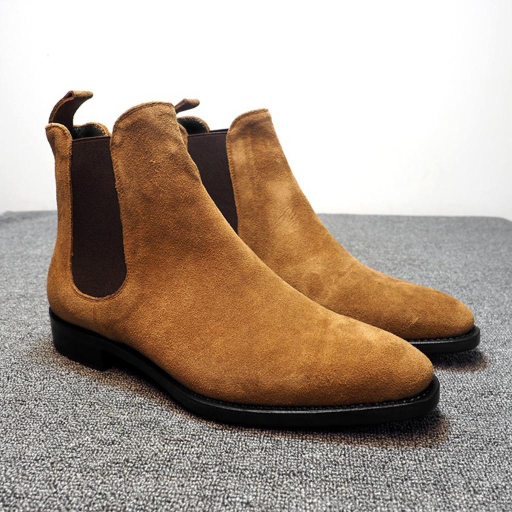 Stivali da uomo di svago di modo comodo a punta alta-Top messo piede in camoscio opaco Tooling Uomo collocazione quotidiana