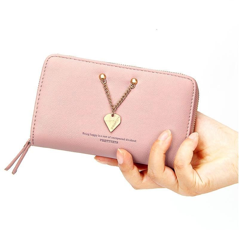 Heart Long Leather Wallet Card Holder Zipper Purse Clutch Bag for Women