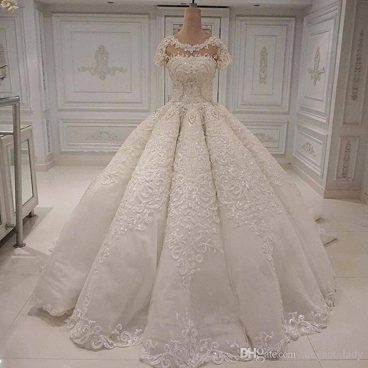 2019 роскошный бисец кристалл свадебные платья элегантные кружевные аппликации принцесса церковь свадьба свадьба с коротким рукавом шарики Vestido de noiva