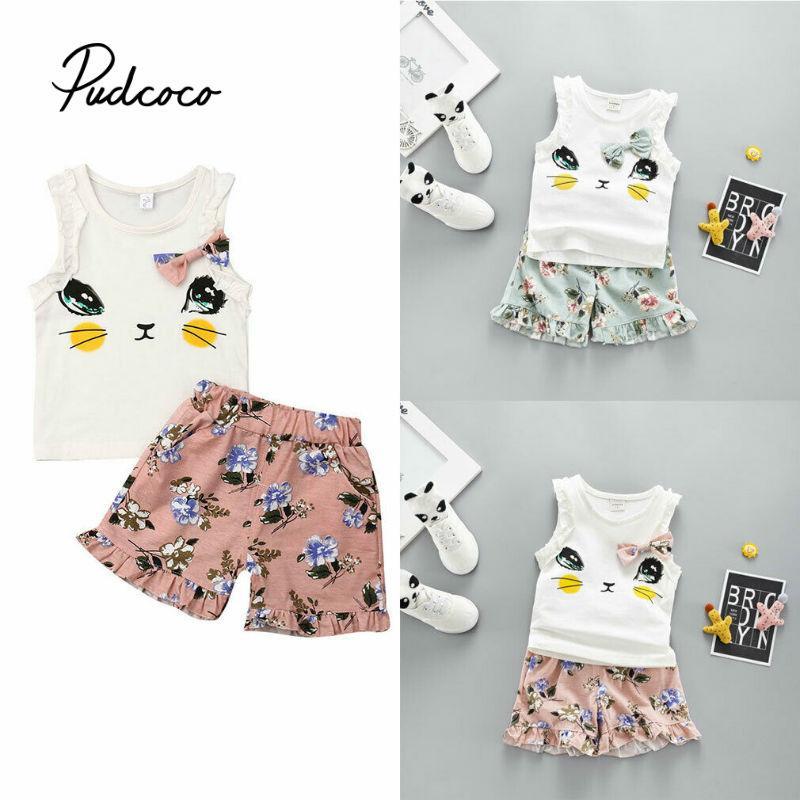 2019 여름 아기 소녀 용 의류 2 개 유아 아기 소녀 고양이 인쇄 조끼 + 반바지 의상 의류 세트 탑