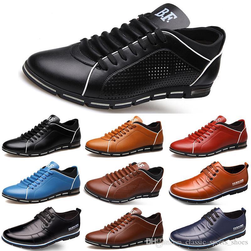 2020 Горячие Продажа Дизайнерские мужчины кожаные ботинки черный темно-синий коричневый бизнес моды плоские партии мужские тренеры тапки color5