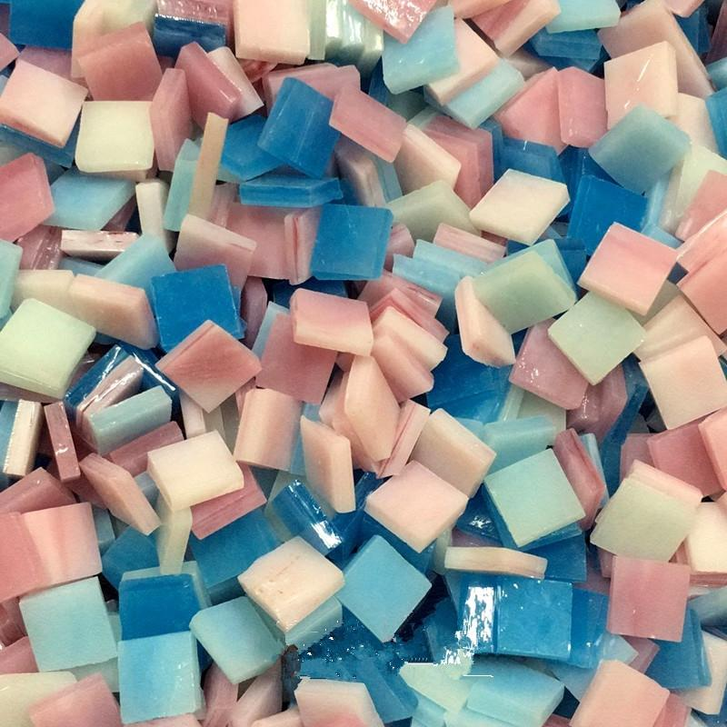 100G/Lot Quartz Mosaic Tiles Stain Glass Mosaic Wall Tile Square 10*10Mm DIY Hobby Teselas De Cer Mica Mosaicos Craft Material Other Hand To