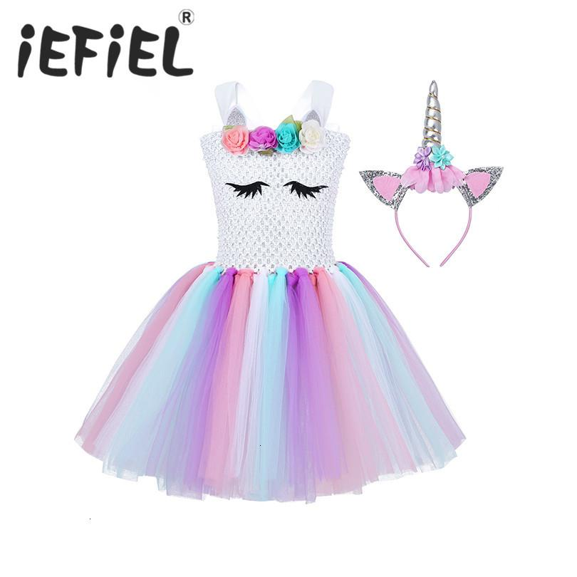 Enfants filles princesse cosplay robe Costumes pour les enfants Halloween Costume genou longueur Dress Up Fancy Party Carnival ClothesMX190921