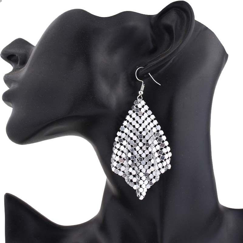 Joyería de moda pendientes de gota de lentejuelas geométrica borla brillante cuelga el pendiente largo Shine cuadrado de malla Declaración gancho pendientes partido de las mujeres