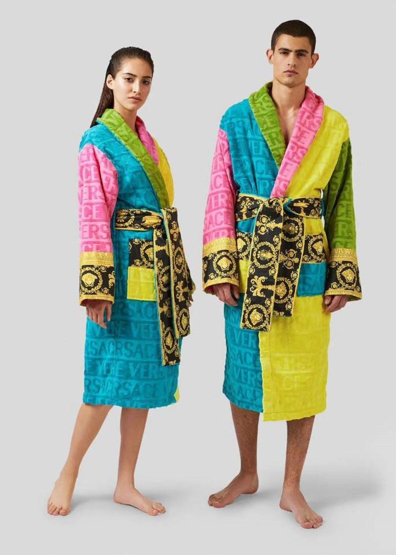 Марка дизайнер халата сна унисекса хлопок ночь халат высокого качество халат мода роскошного халат дышащая элегантные женщины одежда очень жарко 1739