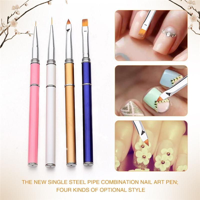 4 PCS nail art caneta escova Fosco Rod Art Nail Gel UV polonês Design Ponto Pintura Detalhando Pen Brush Cuticle Remover Manicure Kit