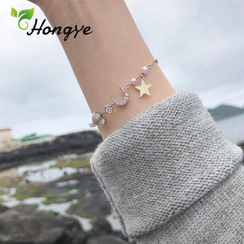 Hongye Mesdames Perle Perle Bracelet Designer Zircon Insérez Étoile et Lune Poignet Accessoires Ton Doré Bracelet Bijoux Femmes Cadeau