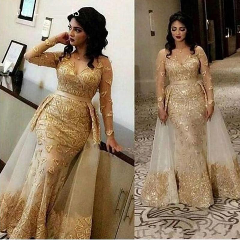 2020 Abiti in oro arabo Champagne Abiti da sera usura per le donne sirena pizzo appliques perline perline di sovrastrutture lunghezza del pavimento formale abito da ballo abito da festa