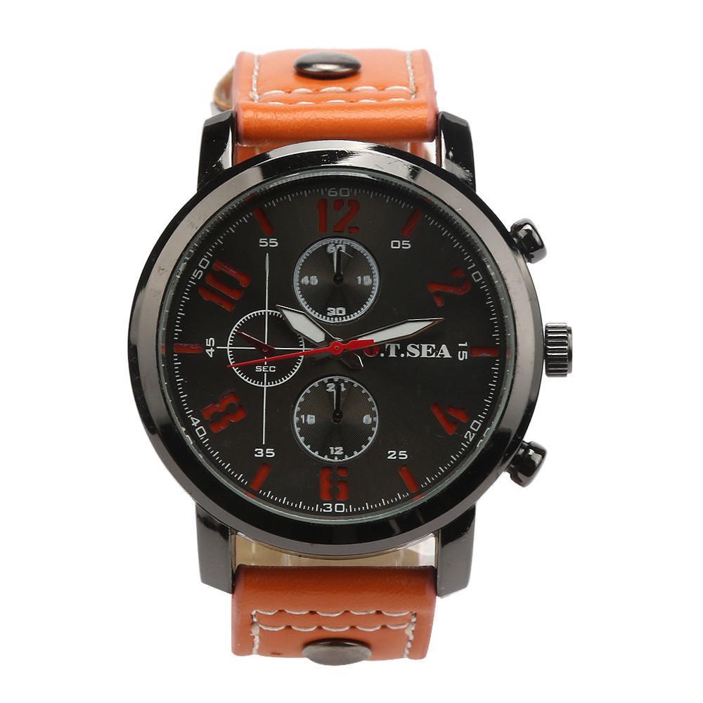 20 9 Mode Casual Hommes Montres Cuir Business Quartz-watch Hommes Sport militaire Montre-bracelet Masculino