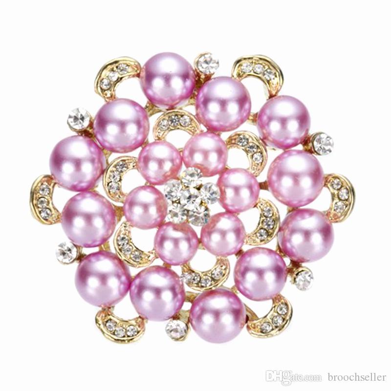 2.2 pulgadas 18k oro placa lila perla ramo de novia broche con cristales de Rhinetone claro