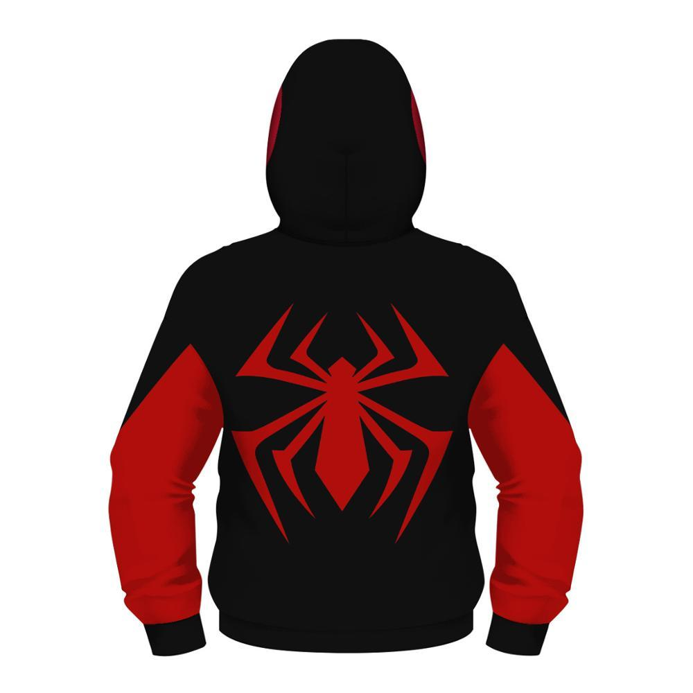 Top di autunno della molla delle ragazze dei ragazzi Zipper Hoodies Teens Spiderman 3D Stampato bambini Felpa con cappuccio bambini Pullover manica lunga