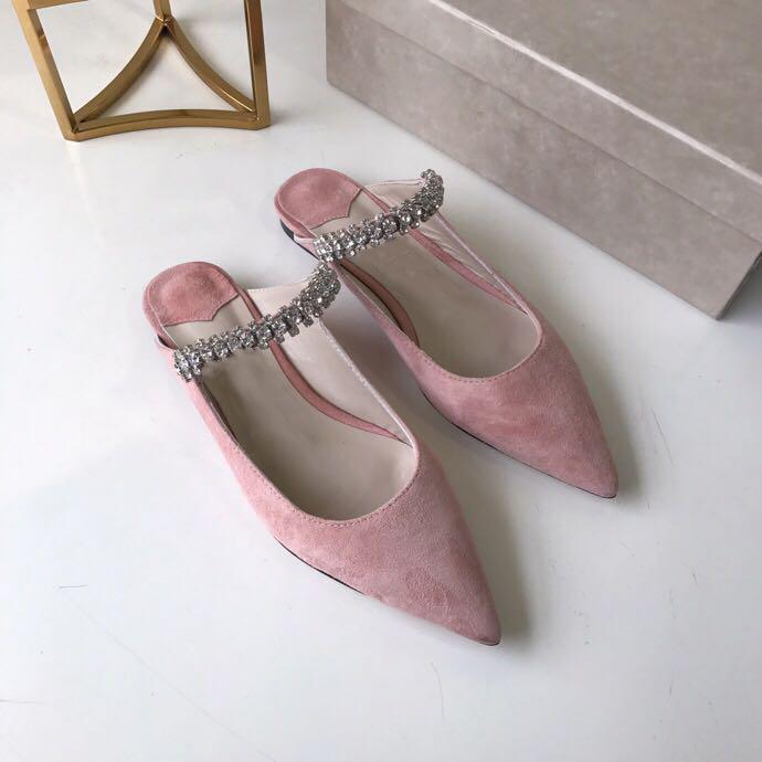 Hot Sale-Samt-Kleid-Schuhe Frauen-Diamant-Sandelholz-Mode Luxus-Partei-Hochzeit Frauen-Kleid-Schuh-flachen Diamant-Slipper