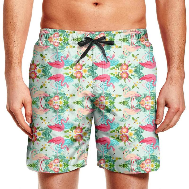 Fashion Board Shorts with Pockets Mens 100/% Polyester Tropical Leaves Flamingo Swim Trunks