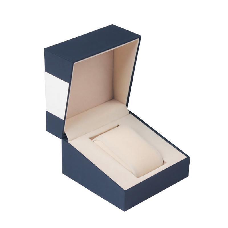 Tabela de armazenamento único slot Decoração completa de protecção inicial mostram Titular Praça Watch Box Jewelry Organizer com tampa Caso presente