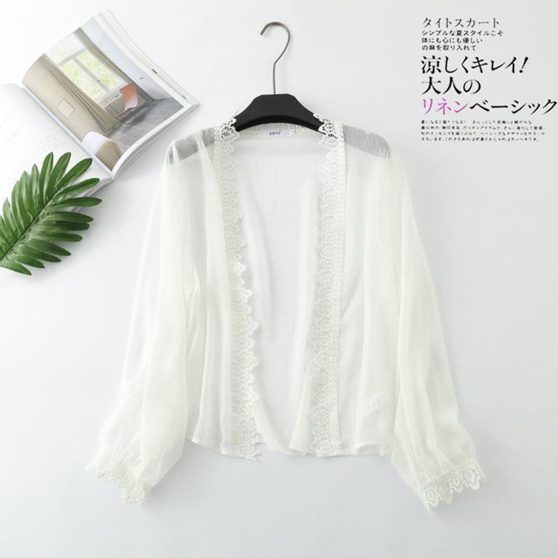 Été Casual doux en mousseline de soie Brochage dentelle Shirt Cardigan Femmes Beach Holiday SunScreen Femme Vestido Blouses Top U561 T200429