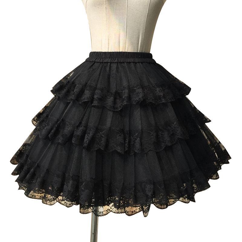 Sweet White/black Cosplay Skirt Three Layer Lace Lolita Petticoat/tutu Skirt Free Shipping J190619