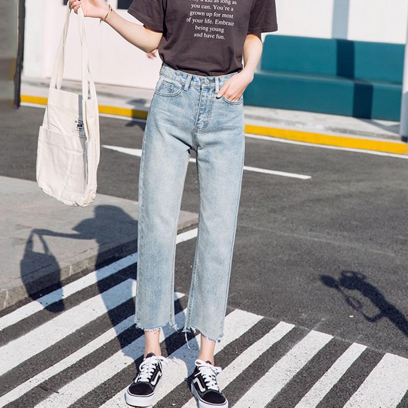 2019 جديد إمرأة خمر جينز أزرار عالية الخصر واسعة الساق السراويل السراويل الكلاسيكية غسلها boyfried نمط فضفاض عارضة الجينز