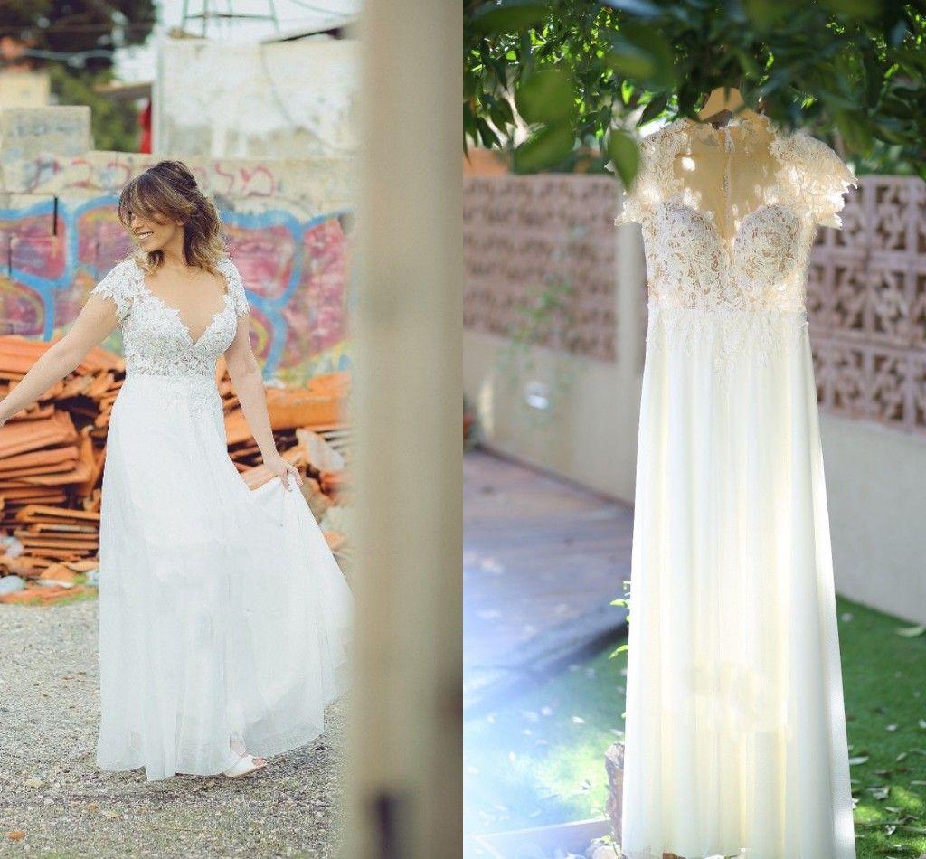 Bohemian Wedding Dresses 2020 Sheer Neck Cap Sleeve Floor Length Illusion Bodice Appliques Garden Country Beach Bridal Gowns robes de mariée