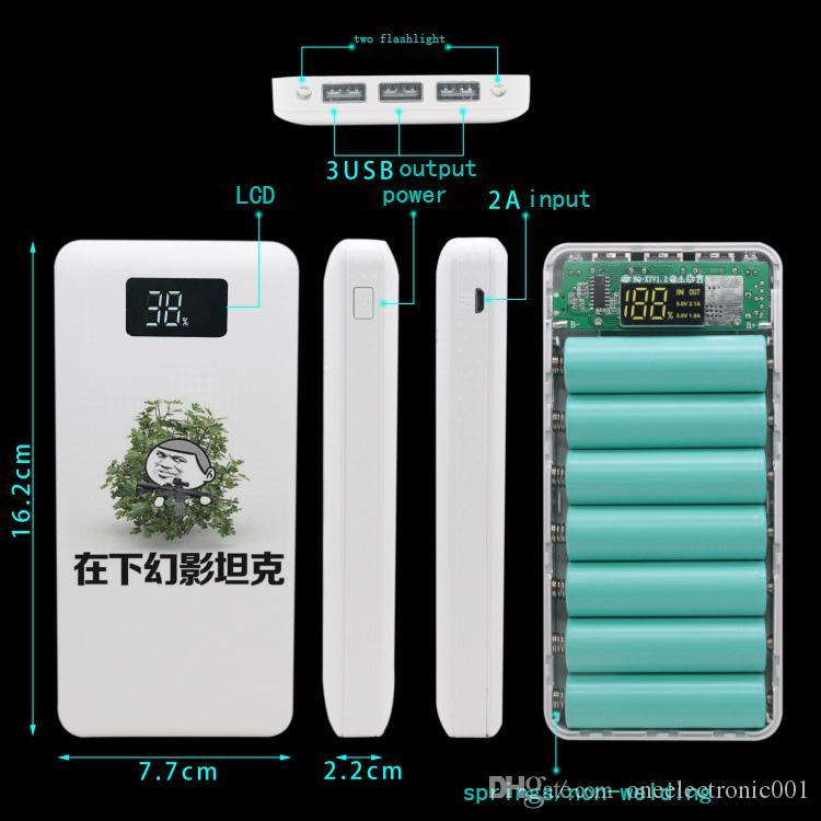 Новый 2019 2USB 7x 18650 DIY портативный держатель батареи мультфильм Power Bank Case Box Case ЖК-дисплей 2x фонарик без батареи нет-сварка для