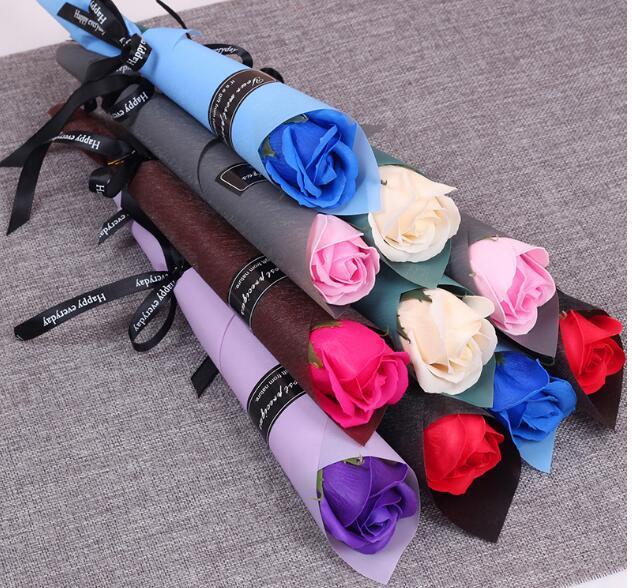 ورقة زهرة الصابون ارتفعت محاكاة الإبداعية عيد الحب هدية زهرة زهرة وهمية
