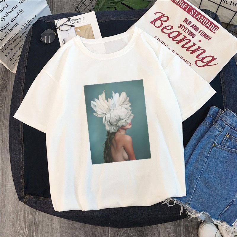 a8104ca123 ... New Cotton Harajuku Aesthetics Tshirt Sexy Flowers Feather Print Short  Sleeve Tops & Tees Fashion Casual ...