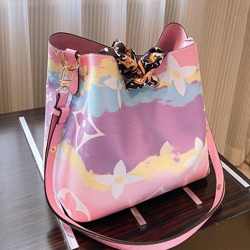 Ünlü Kepçe Çantaları Çanta Kanvas Omuz Çantaları Moda Platformu Kepçe Çanta Bayan Üçlü Çiçek Baskı Crossbody Çanta Çanta TİP1