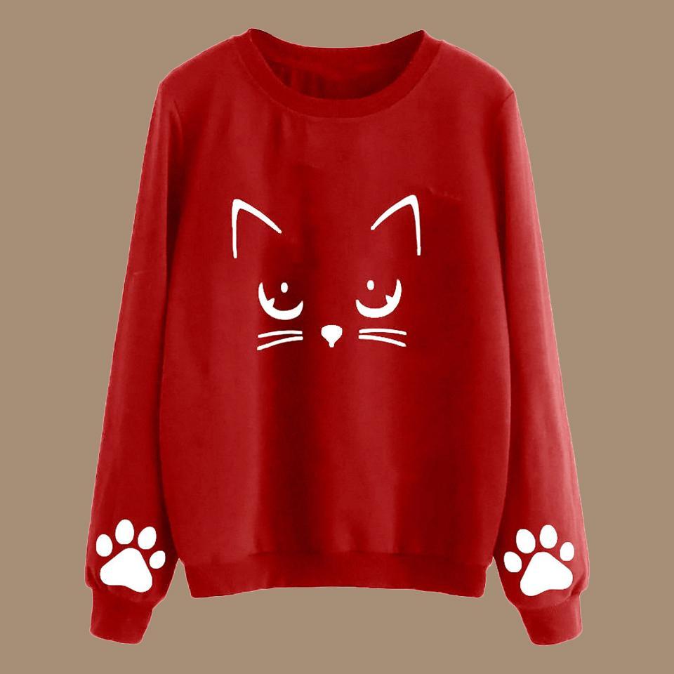 Pull Cat Imprimer Sweat À Capuche Poleron Mujer 2019 Pull À Col Rasé Chat Kawaii Harajuku Casual Vin Rouge Mignon Femmes Hoodies 3xl