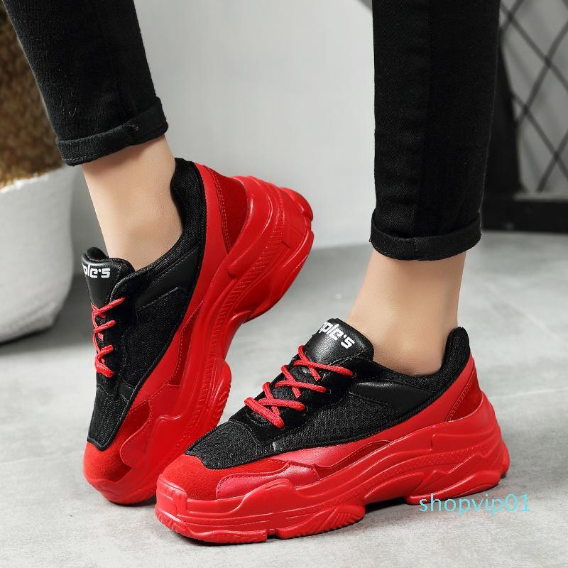 Горячая распродажа-осень новые модные женские кроссовки Высота обувь замша сетка верхняя платформа папа обувь