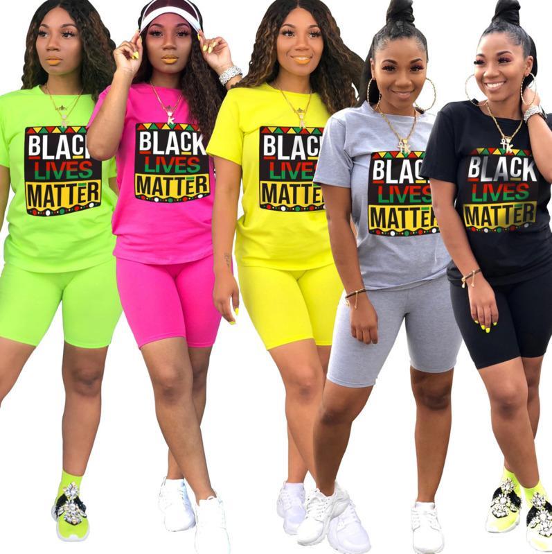 Summer Femmes Tracksuit Femme Casual 2 pièces Ensemble T-shirt à manches courtes + Short maigre Costume de jogger occasionnel