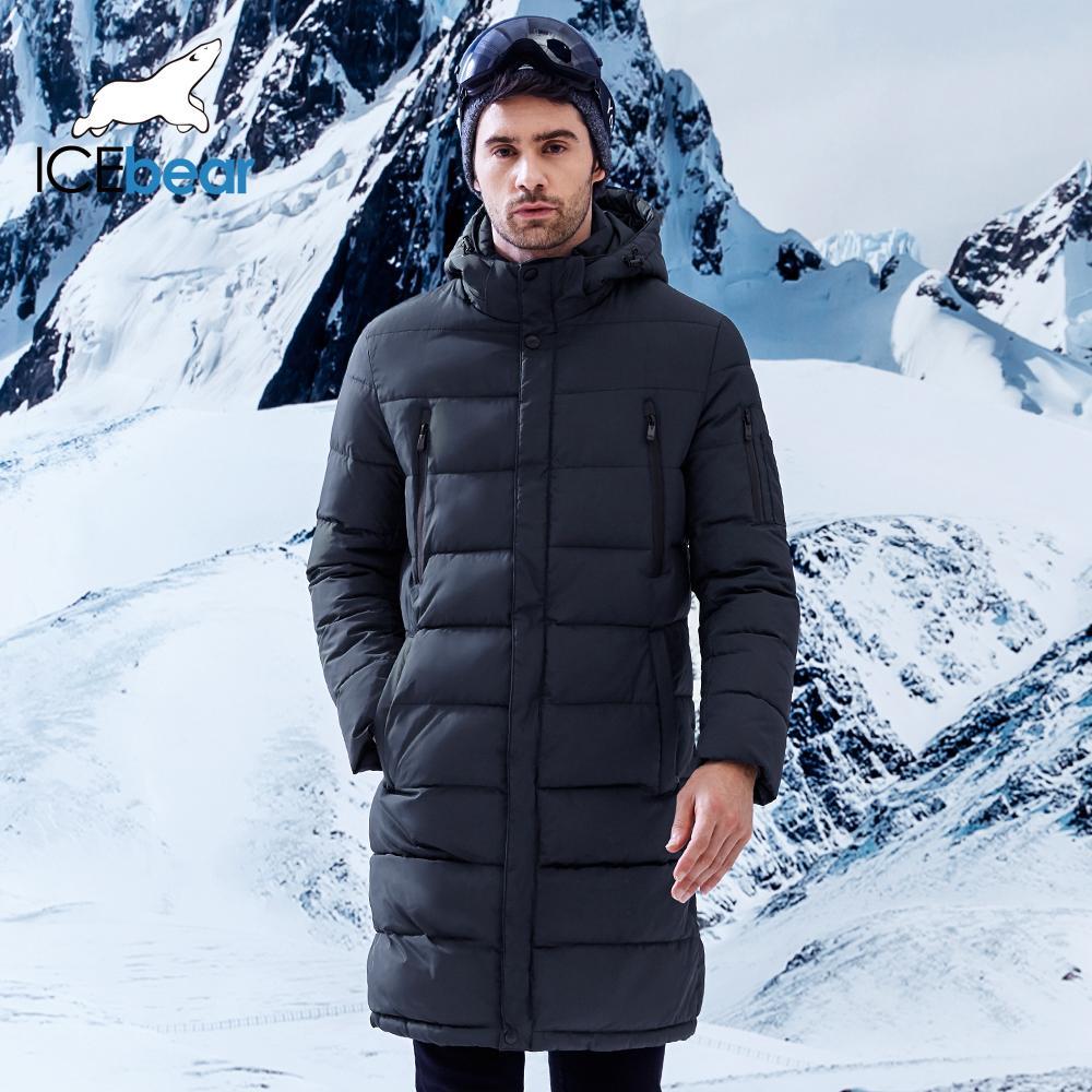 ICEbear 2018 Kış erkek Uzun Ceket Zarif Kol Cep Erkekler Katı Parka Sıcak Manşetleri Tasarım Nefes Kumaş Ceket B17M298D
